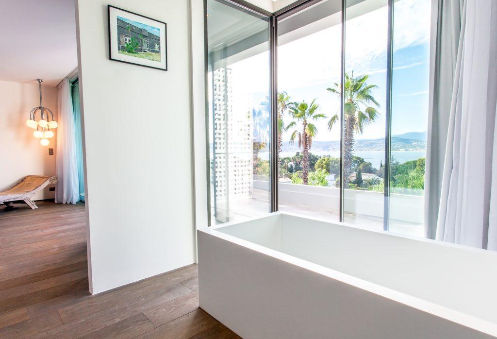 Modern Bathroom with Balcony View